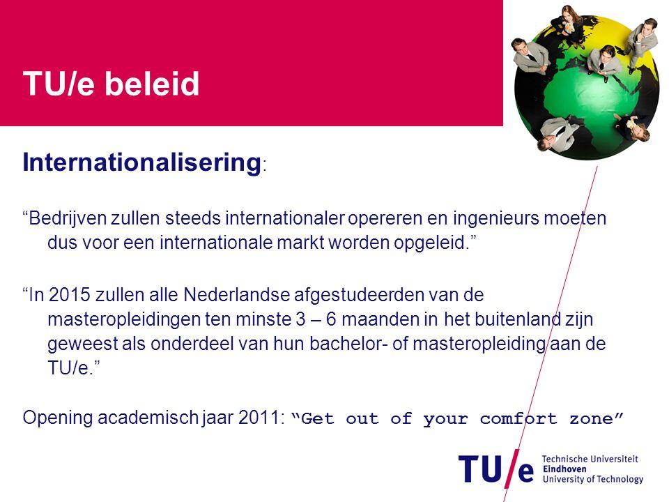 """TU/e beleid Internationalisering : """"Bedrijven zullen steeds internationaler opereren en ingenieurs moeten dus voor een internationale markt worden opg"""