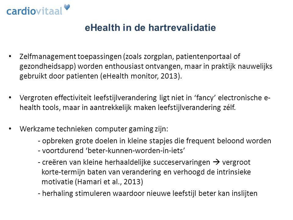 Zelfmanagement toepassingen (zoals zorgplan, patientenportaal of gezondheidsapp) worden enthousiast ontvangen, maar in praktijk nauwelijks gebruikt door patienten (eHealth monitor, 2013).