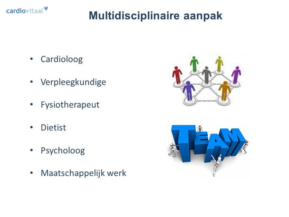 Multidisciplinaire aanpak Cardioloog Verpleegkundige Fysiotherapeut Dietist Psycholoog Maatschappelijk werk