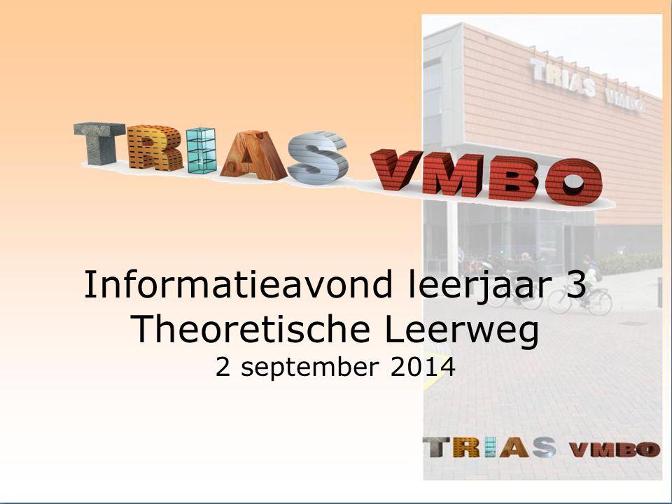 Informatieavond leerjaar 3 Theoretische Leerweg 2 september 2014