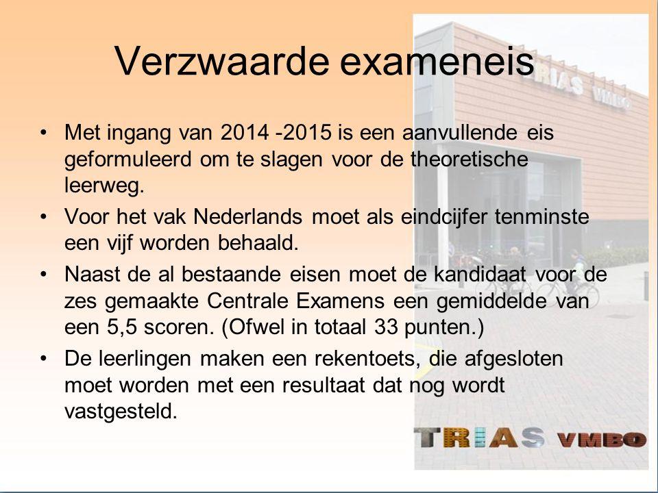 Verzwaarde exameneis Met ingang van 2014 -2015 is een aanvullende eis geformuleerd om te slagen voor de theoretische leerweg. Voor het vak Nederlands
