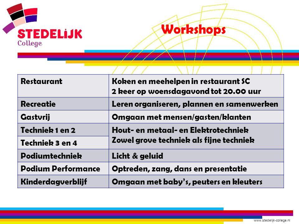 www.stedelijk-college.nl Workshops RestaurantKoken en meehelpen in restaurant SC 2 keer op woensdagavond tot 20.00 uur RecreatieLeren organiseren, pla