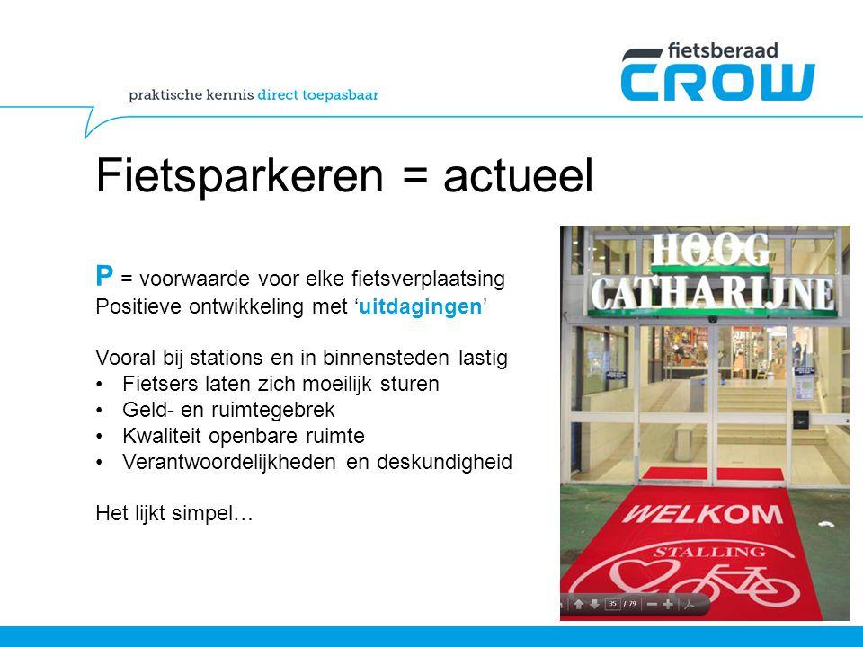 Fietsparkeren = actueel P = voorwaarde voor elke fietsverplaatsing Positieve ontwikkeling met 'uitdagingen' Vooral bij stations en in binnensteden las