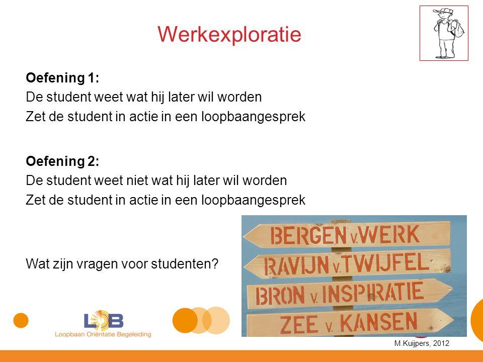 Werkexploratie Wat zijn vragen voor studenten? Oefening 1: De student weet wat hij later wil worden Zet de student in actie in een loopbaangesprek Oef