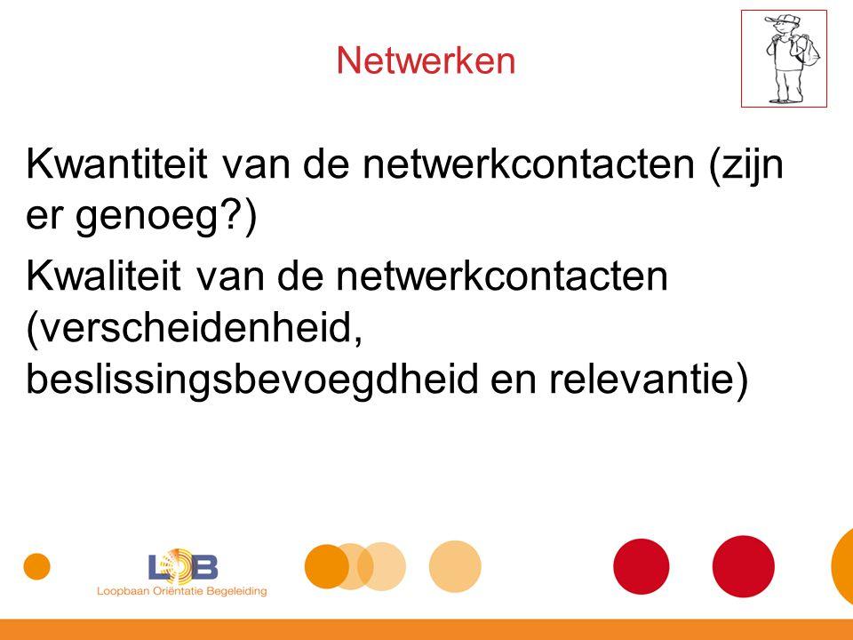 Kwantiteit van de netwerkcontacten (zijn er genoeg?) Kwaliteit van de netwerkcontacten (verscheidenheid, beslissingsbevoegdheid en relevantie) Netwerk