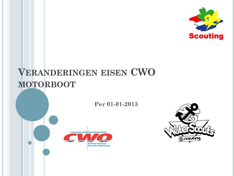 V ERANDERINGEN EISEN CWO MOTORBOOT Per 01-01-2013