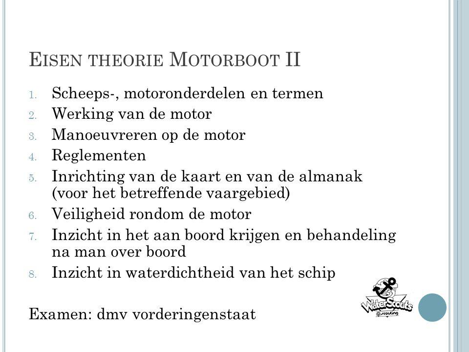 E ISEN THEORIE M OTORBOOT II 1. Scheeps-, motoronderdelen en termen 2. Werking van de motor 3. Manoeuvreren op de motor 4. Reglementen 5. Inrichting v