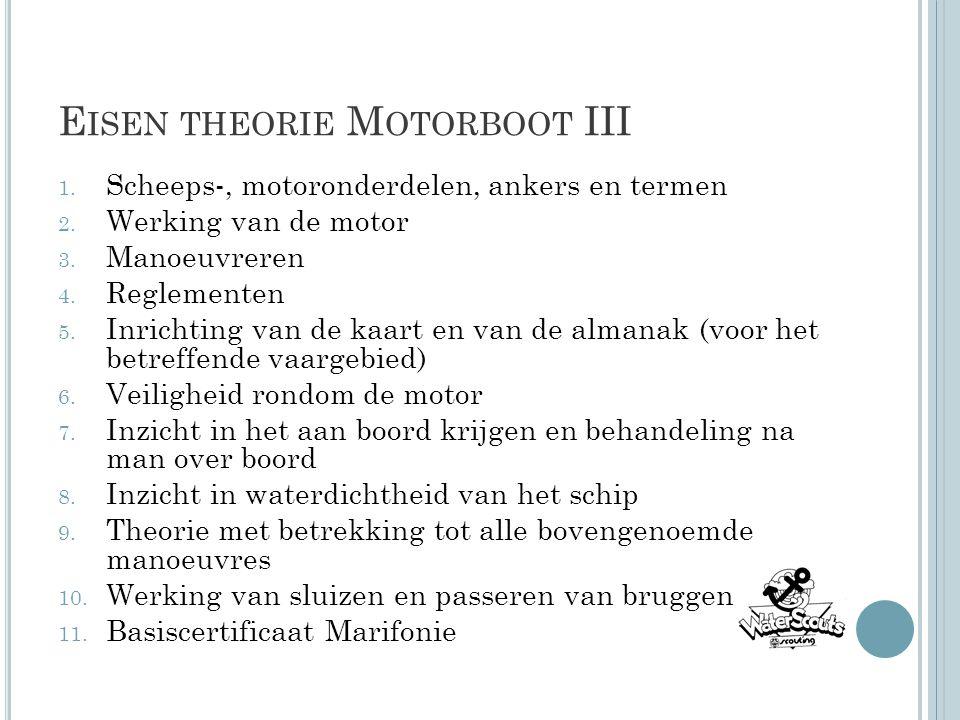 E ISEN THEORIE M OTORBOOT III 1. Scheeps-, motoronderdelen, ankers en termen 2. Werking van de motor 3. Manoeuvreren 4. Reglementen 5. Inrichting van