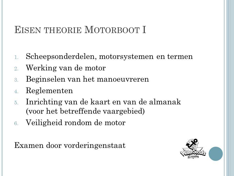 E ISEN THEORIE M OTORBOOT I 1. Scheepsonderdelen, motorsystemen en termen 2. Werking van de motor 3. Beginselen van het manoeuvreren 4. Reglementen 5.