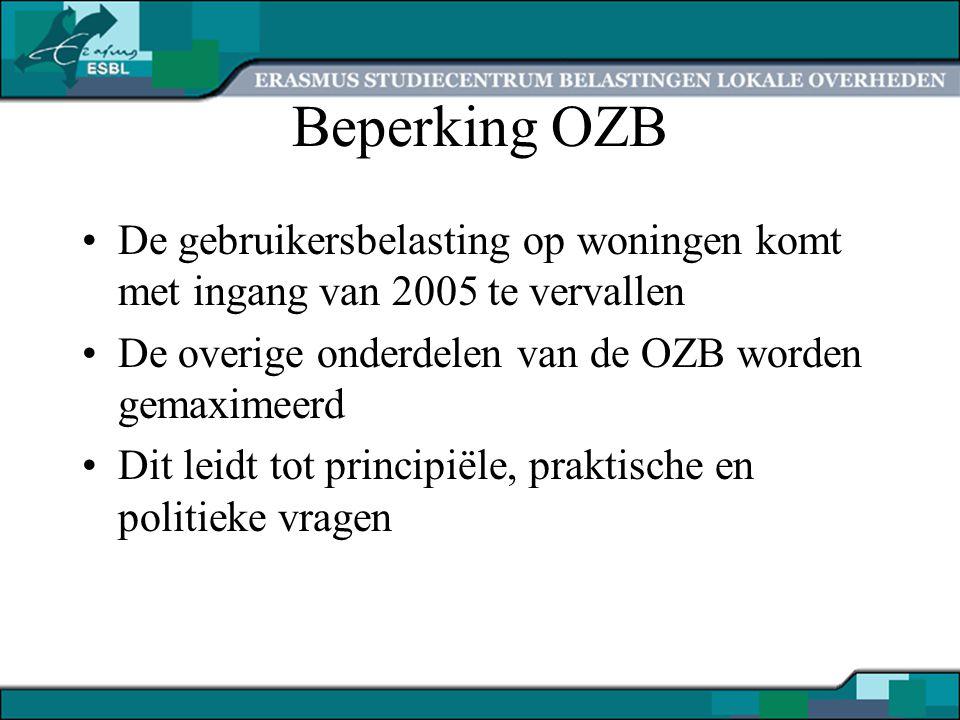 Beperking OZB De gebruikersbelasting op woningen komt met ingang van 2005 te vervallen De overige onderdelen van de OZB worden gemaximeerd Dit leidt tot principiële, praktische en politieke vragen