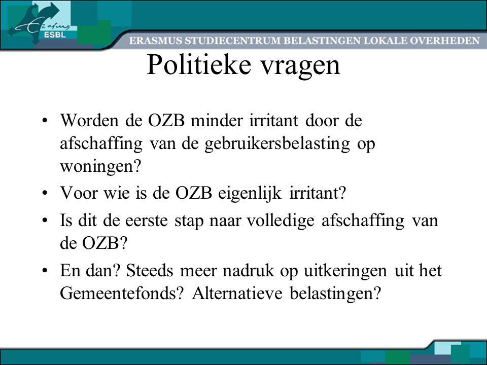 Politieke vragen Worden de OZB minder irritant door de afschaffing van de gebruikersbelasting op woningen? Voor wie is de OZB eigenlijk irritant? Is d