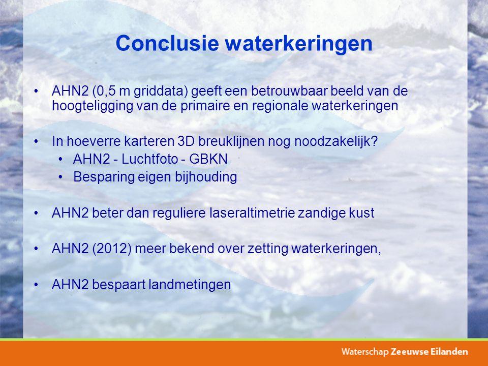 Conclusie waterkeringen AHN2 (0,5 m griddata) geeft een betrouwbaar beeld van de hoogteligging van de primaire en regionale waterkeringen In hoeverre