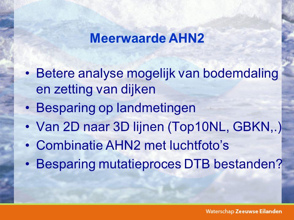 Meerwaarde AHN2 Betere analyse mogelijk van bodemdaling en zetting van dijken Besparing op landmetingen Van 2D naar 3D lijnen (Top10NL, GBKN,.) Combin