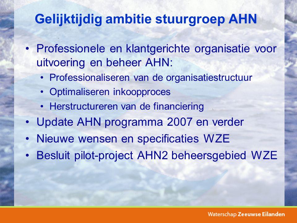 Gelijktijdig ambitie stuurgroep AHN Professionele en klantgerichte organisatie voor uitvoering en beheer AHN: Professionaliseren van de organisatiestr