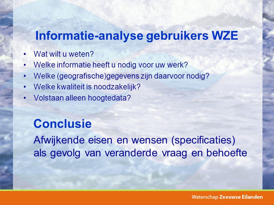 Informatie-analyse gebruikers WZE Wat wilt u weten? Welke informatie heeft u nodig voor uw werk? Welke (geografische)gegevens zijn daarvoor nodig? Wel
