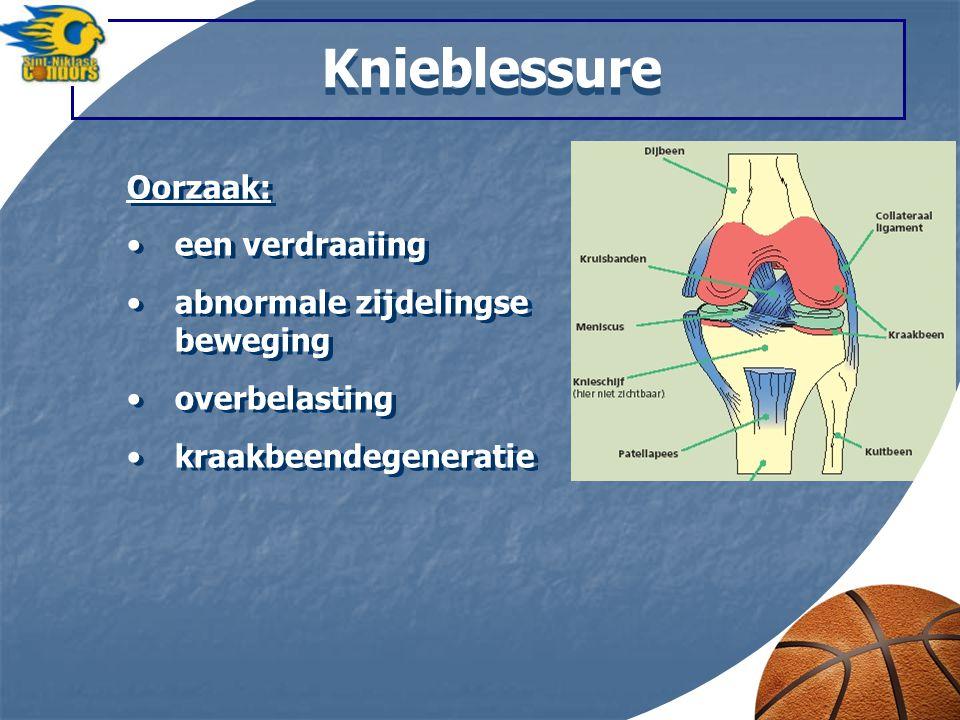 Knieblessure Oorzaak: een verdraaiing abnormale zijdelingse beweging overbelasting kraakbeendegeneratie Oorzaak: een verdraaiing abnormale zijdelingse