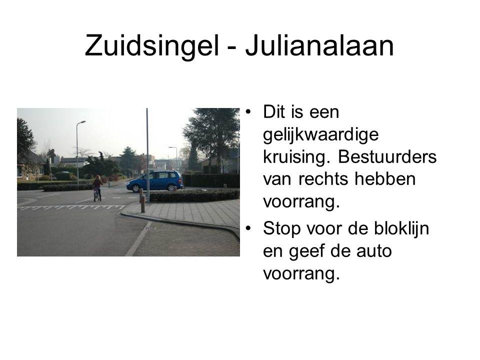 Zuidsingel - Julianalaan Dit is een gelijkwaardige kruising. Bestuurders van rechts hebben voorrang. Stop voor de bloklijn en geef de auto voorrang.