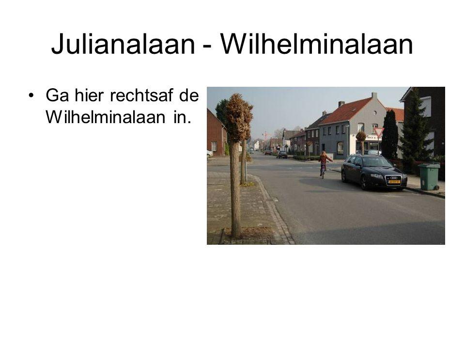 Julianalaan - Wilhelminalaan Ga hier rechtsaf de Wilhelminalaan in.