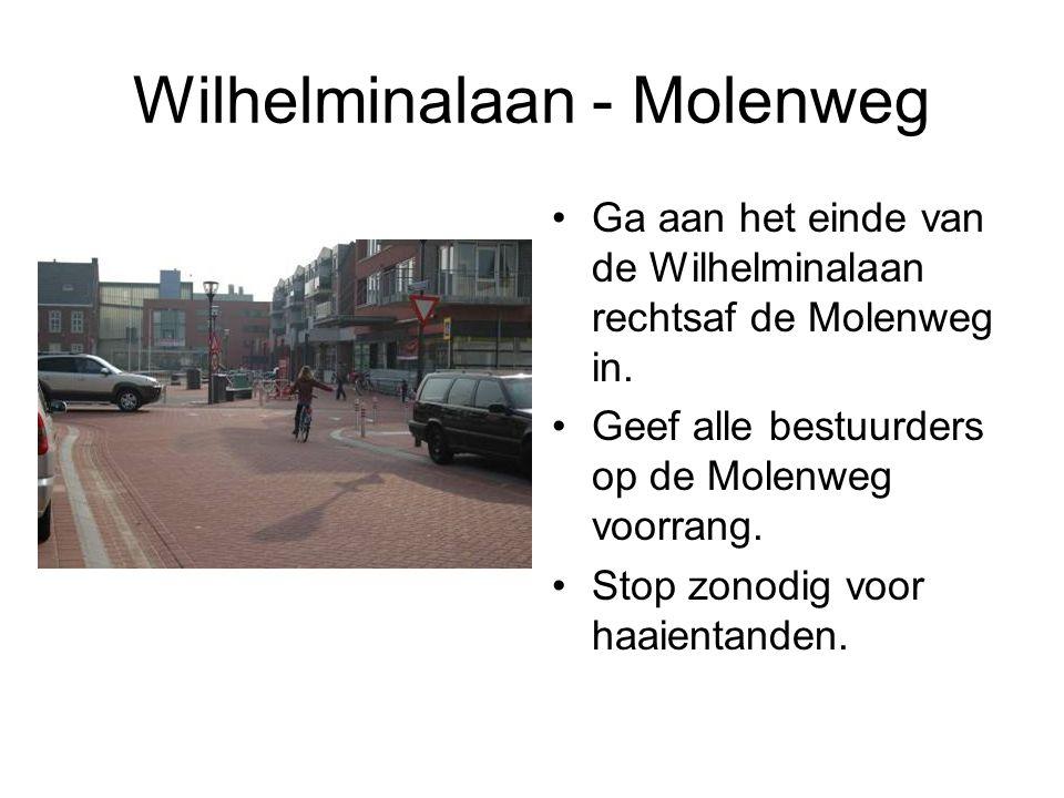 Wilhelminalaan - Molenweg Ga aan het einde van de Wilhelminalaan rechtsaf de Molenweg in. Geef alle bestuurders op de Molenweg voorrang. Stop zonodig