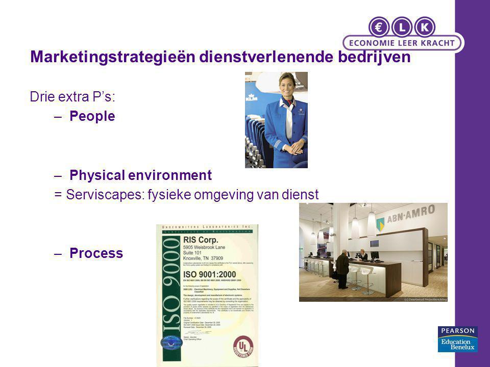 Marketingstrategieën dienstverlenende bedrijven Drie extra P's: –People –Physical environment = Serviscapes: fysieke omgeving van dienst –Process