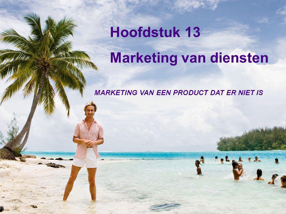 Hoofdstuk 13 Marketing van diensten MARKETING VAN EEN PRODUCT DAT ER NIET IS