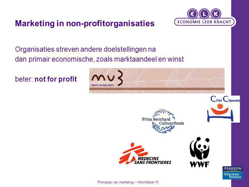 Marketing in non-profitorganisaties Organisaties streven andere doelstellingen na dan primair economische, zoals marktaandeel en winst beter: not for