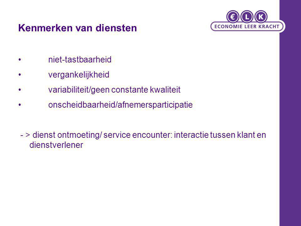 Kenmerken van diensten niet-tastbaarheid vergankelijkheid variabiliteit/geen constante kwaliteit onscheidbaarheid/afnemersparticipatie - > dienst ontm