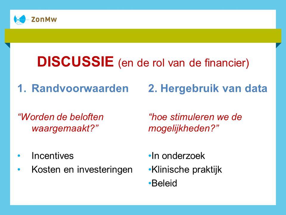 DISCUSSIE (en de rol van de financier) 1.Randvoorwaarden Worden de beloften waargemaakt? Incentives Kosten en investeringen 2.