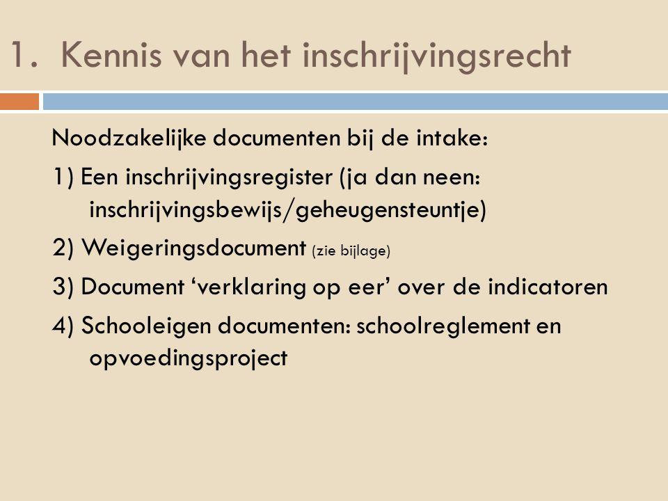 1. Kennis van het inschrijvingsrecht Noodzakelijke documenten bij de intake: 1) Een inschrijvingsregister (ja dan neen: inschrijvingsbewijs/geheugenst