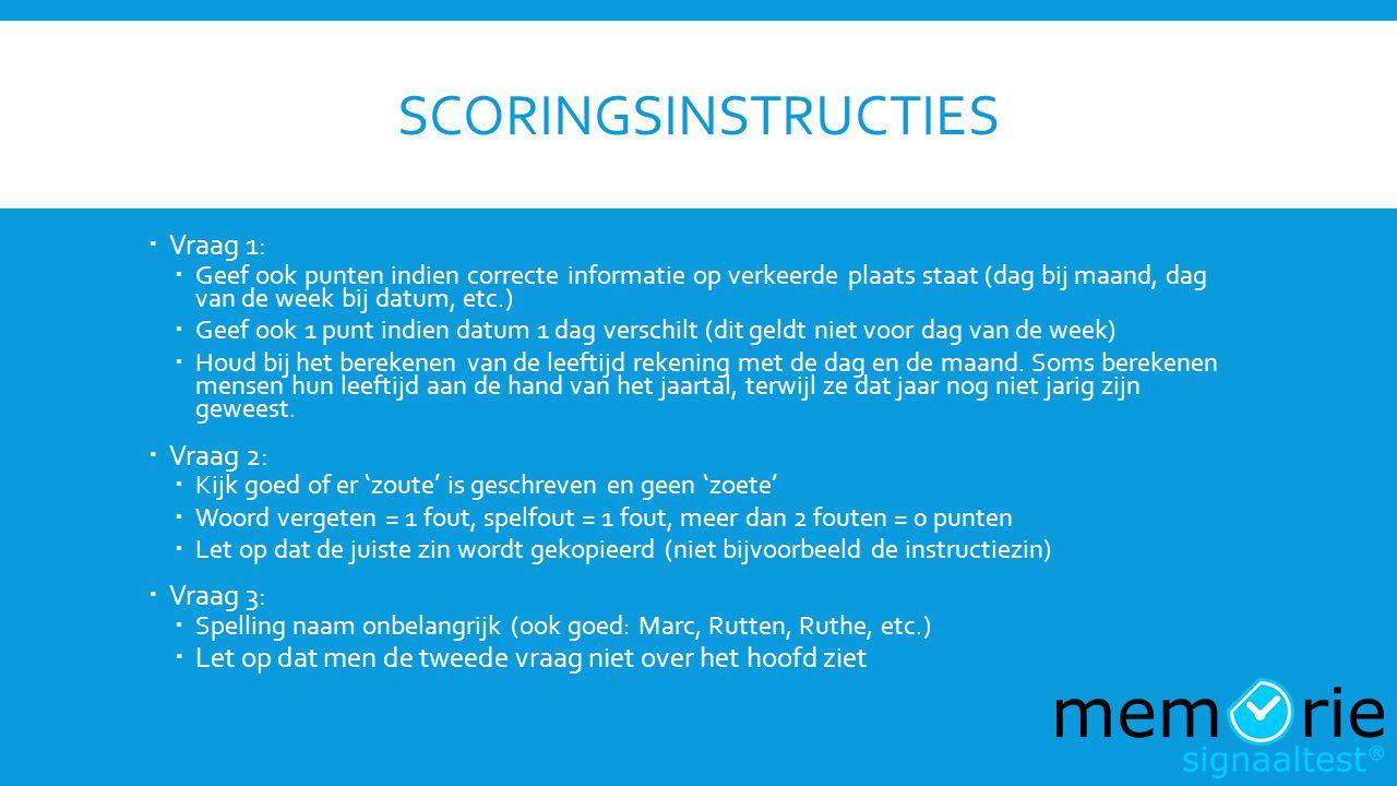 SCORINGSINSTRUCTIES  Vraag 1:  Geef ook punten indien correcte informatie op verkeerde plaats staat (dag bij maand, dag van de week bij datum, etc.)