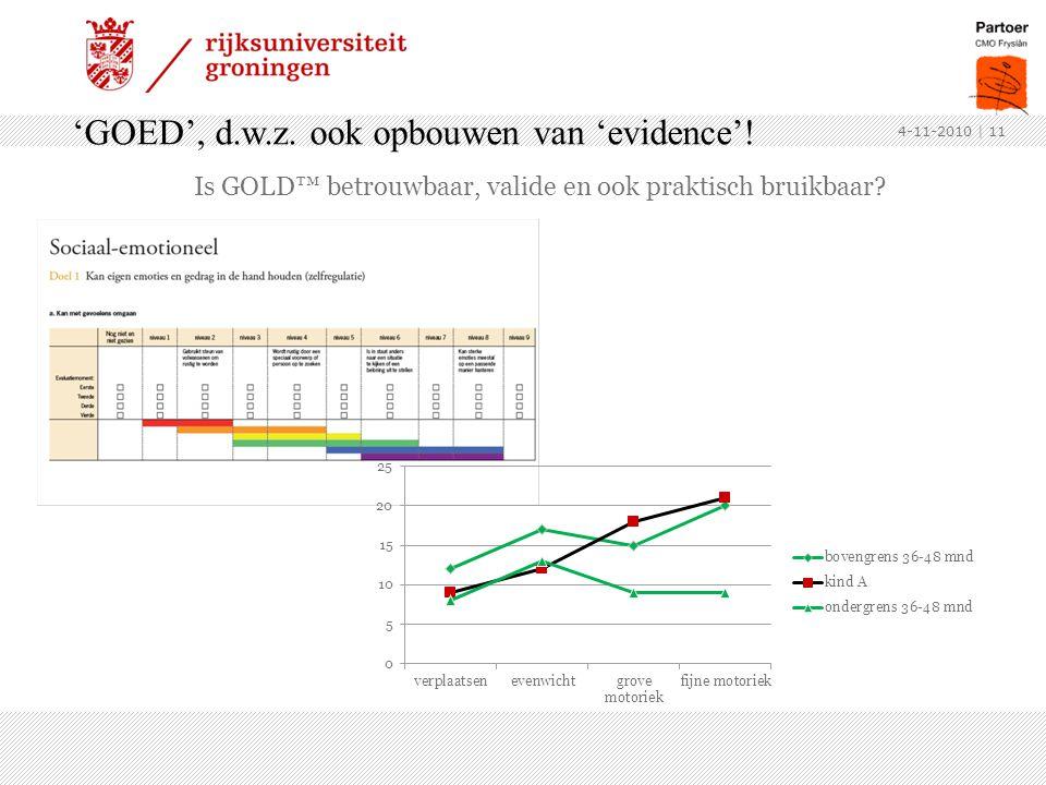 Is GOLD™ betrouwbaar, valide en ook praktisch bruikbaar? 4-11-2010 'GOED', d.w.z. ook opbouwen van 'evidence'! | 11