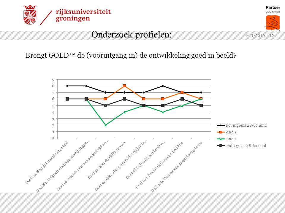 Onderzoek profielen: Brengt GOLD™ de (vooruitgang in) de ontwikkeling goed in beeld? 4-11-2010 | 12