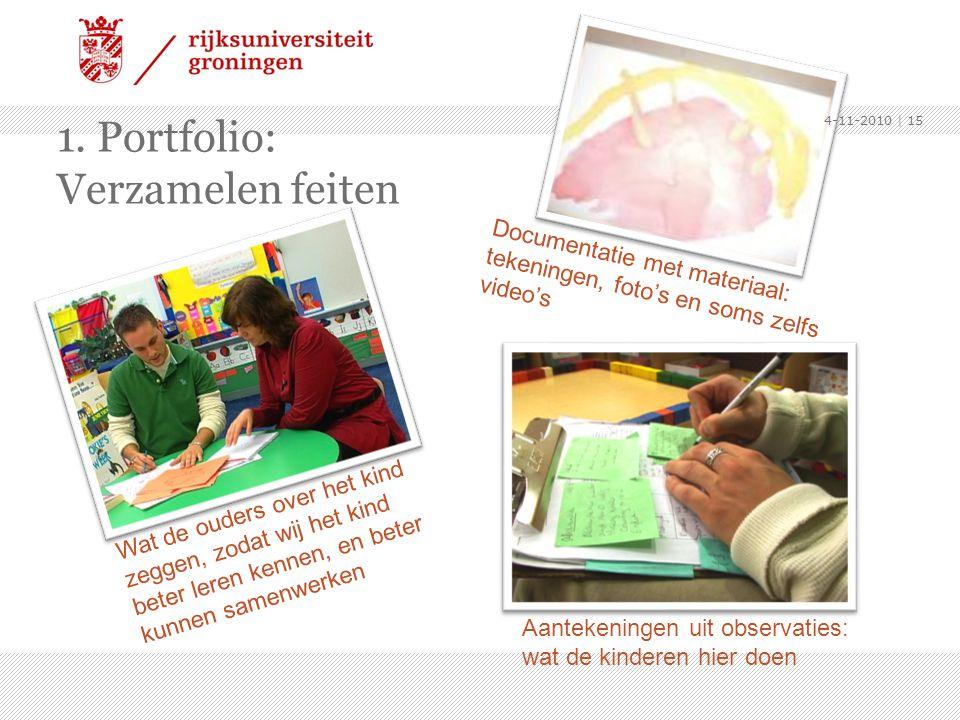 1. Portfolio: Verzamelen feiten Documentatie met materiaal: tekeningen, foto's en soms zelfs video's Aantekeningen uit observaties: wat de kinderen hi