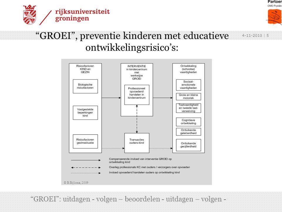 4-11-2010 | 6 heeft tenminste de volgende vier componenten: 1.Een evaluatiesysteem, 2.Opvoedingsdoelen (inhoud) en fasering daarbinnen, 3.Activiteiten en interventiestrategieën, en 4.Procedures voor het volgen van de vooruitgang in de ontwikkeling van de individuele kinderen.
