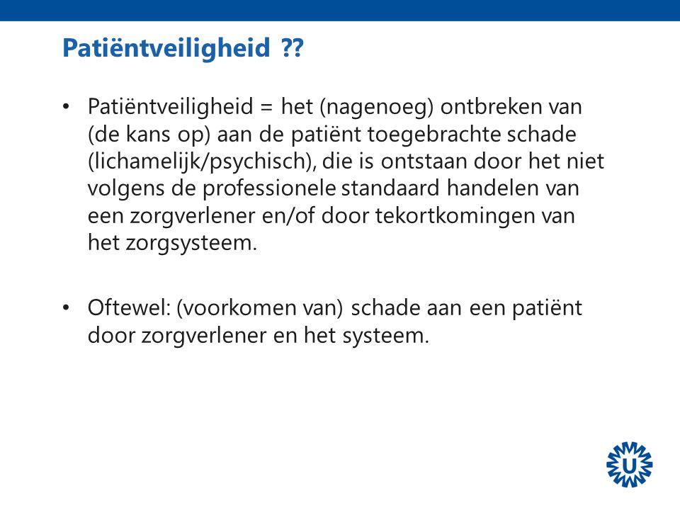 Patiëntveiligheid Patiëntveiligheid = het (nagenoeg) ontbreken van (de kans op) aan de patiënt toegebrachte schade (lichamelijk/psychisch), die is ont