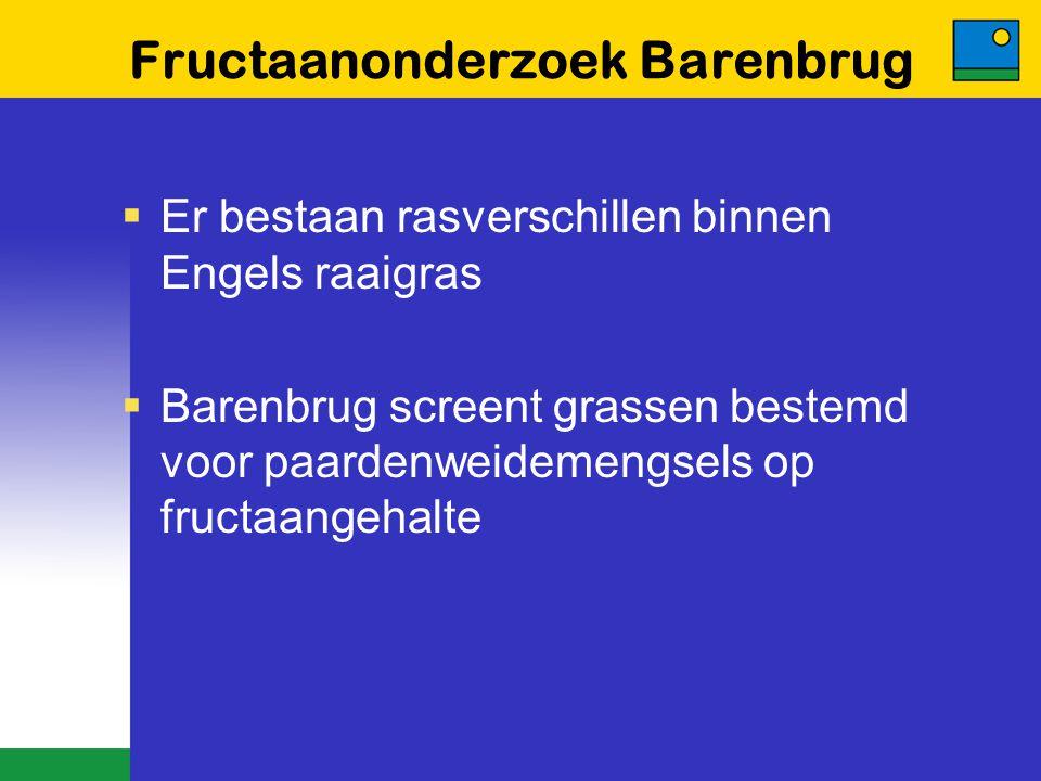 Fructaanonderzoek Barenbrug  Er bestaan rasverschillen binnen Engels raaigras  Barenbrug screent grassen bestemd voor paardenweidemengsels op fructa
