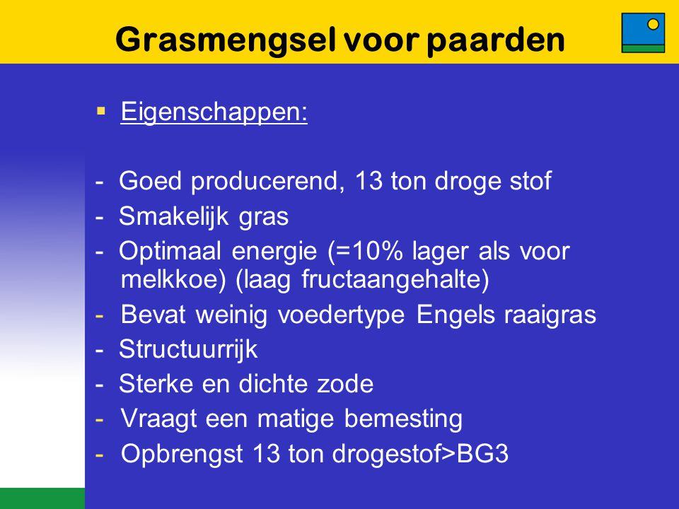 Grasmengsel voor paarden  Eigenschappen: - Goed producerend, 13 ton droge stof - Smakelijk gras - Optimaal energie (=10% lager als voor melkkoe) (laa