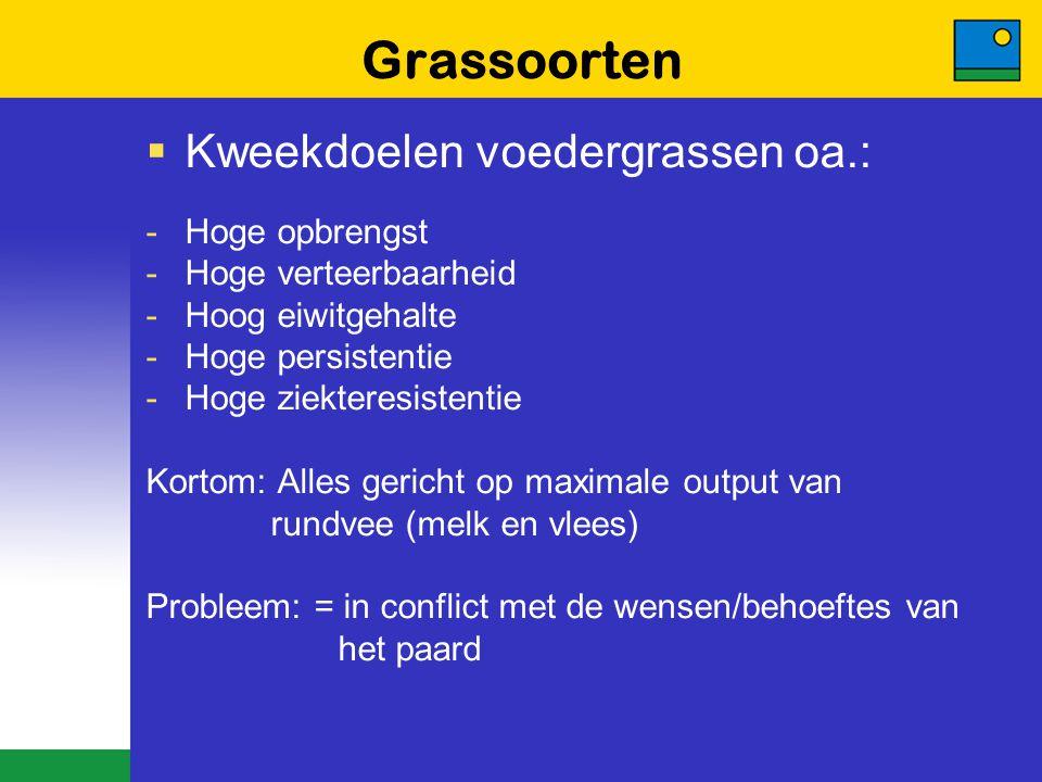 Grassoorten  Kweekdoelen voedergrassen oa.: -Hoge opbrengst -Hoge verteerbaarheid -Hoog eiwitgehalte -Hoge persistentie -Hoge ziekteresistentie Korto