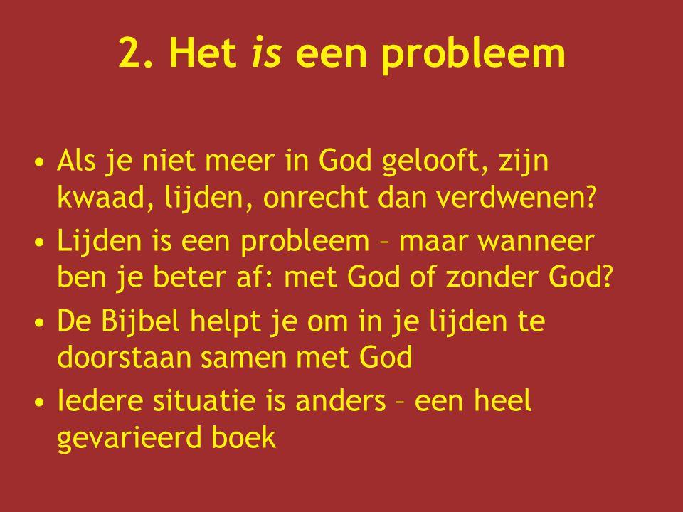 2. Het is een probleem Als je niet meer in God gelooft, zijn kwaad, lijden, onrecht dan verdwenen? Lijden is een probleem – maar wanneer ben je beter