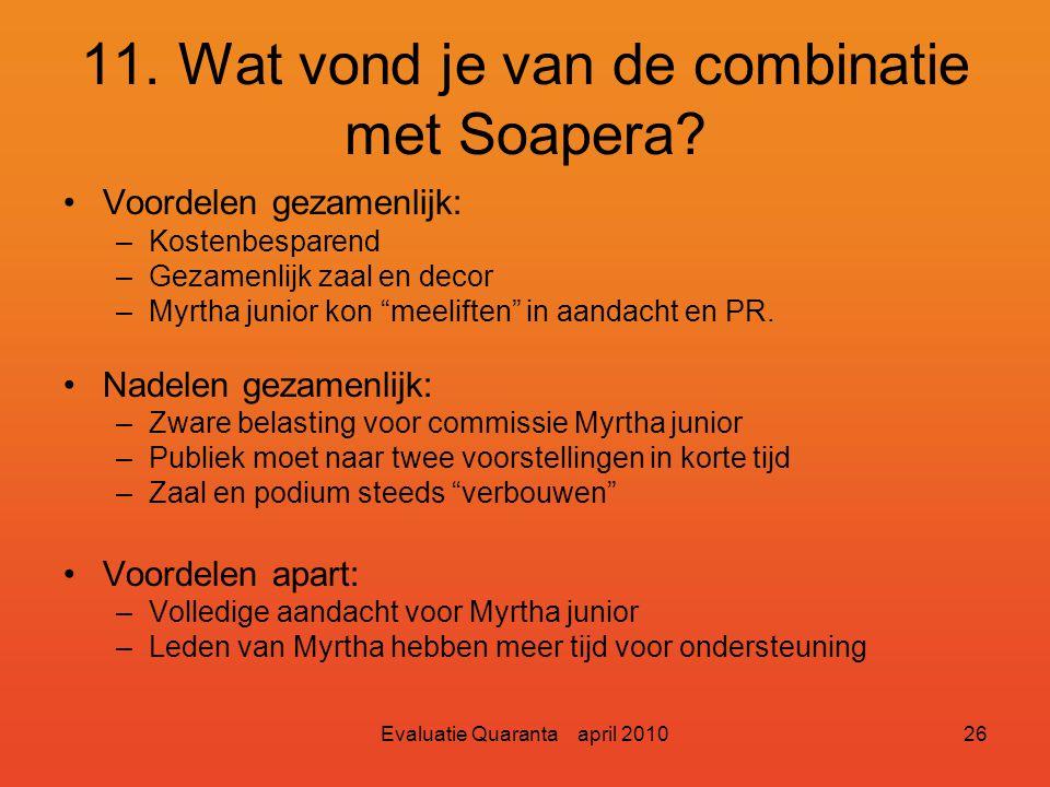 """Evaluatie Quaranta april 201025 11. Wat vond je van de combinatie met Soapera? Heel veel positieve reakties over de """"Soapera"""" Grote merderheid voor ap"""