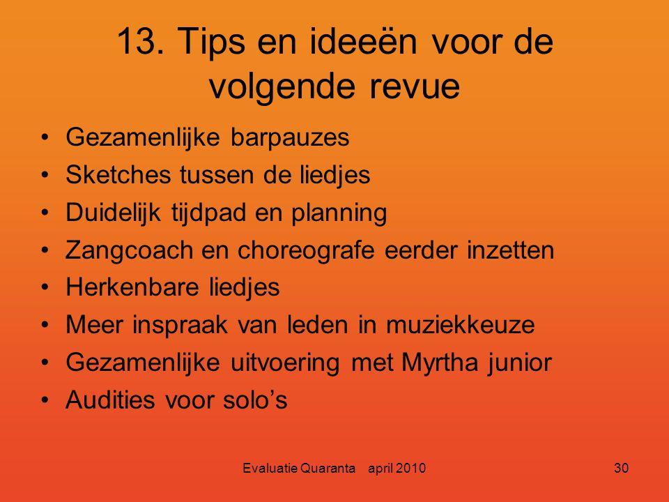 Evaluatie Quaranta april 201029 13. Tips en ideeën voor de volgende revue Programma eerder definitief. Minder veranderingen in muziek en liedjes. Exte