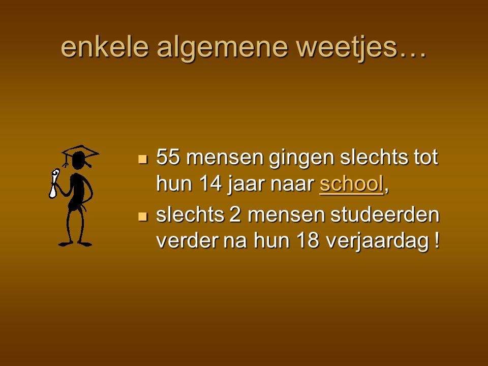 enkele algemene weetjes… 55 mensen gingen slechts tot hun 14 jaar naar school, 55 mensen gingen slechts tot hun 14 jaar naar school, slechts 2 mensen studeerden verder na hun 18 verjaardag .