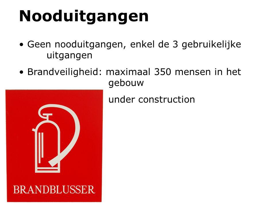 Nooduitgangen Geen nooduitgangen, enkel de 3 gebruikelijke uitgangen Brandveiligheid: maximaal 350 mensen in het gebouw under construction