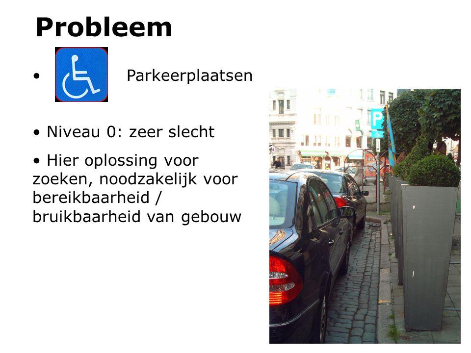 Probleem Parkeerplaatsen Niveau 0: zeer slecht Hier oplossing voor zoeken, noodzakelijk voor bereikbaarheid / bruikbaarheid van gebouw