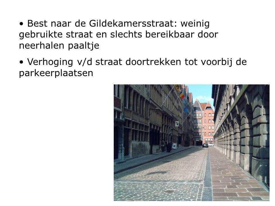 Best naar de Gildekamersstraat: weinig gebruikte straat en slechts bereikbaar door neerhalen paaltje Verhoging v/d straat doortrekken tot voorbij de parkeerplaatsen