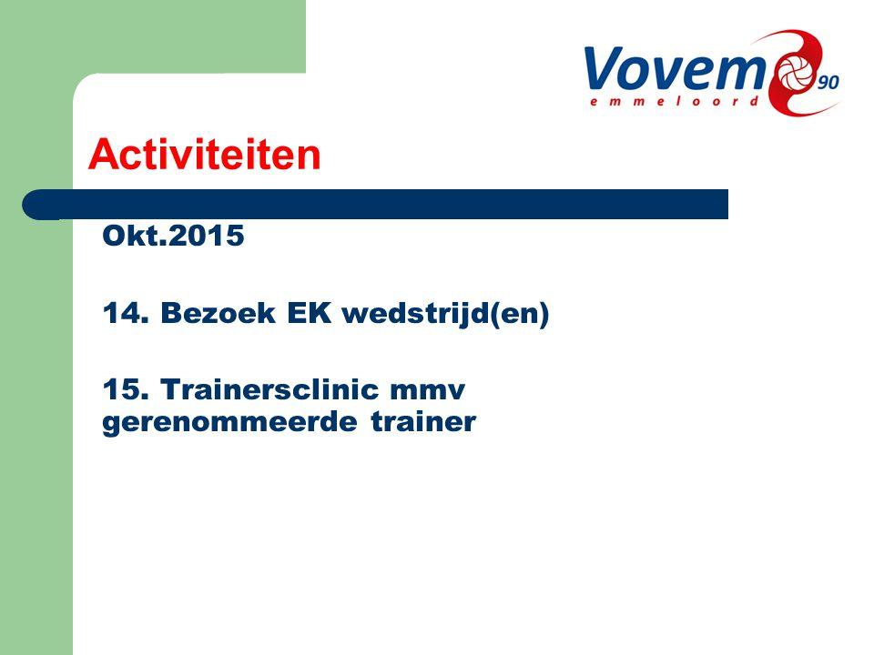 Activiteiten Okt.2015 14. Bezoek EK wedstrijd(en) 15. Trainersclinic mmv gerenommeerde trainer