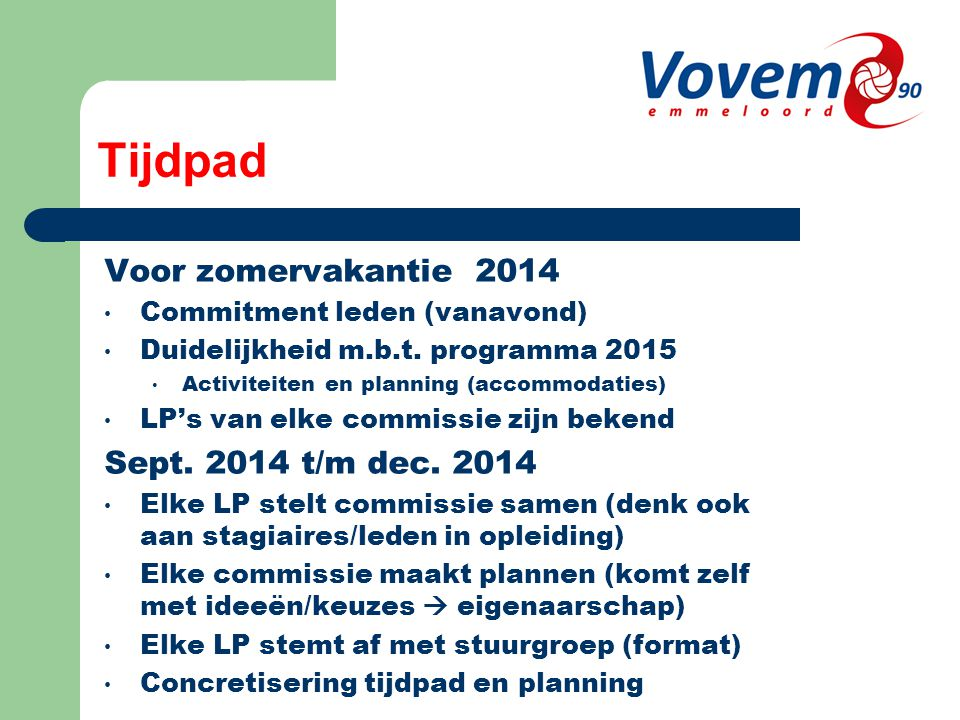 Tijdpad Voor zomervakantie 2014 Commitment leden (vanavond) Duidelijkheid m.b.t.
