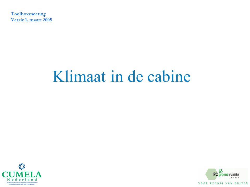 Toolboxmeeting Versie 1, maart 2005 Klimaat in de cabine