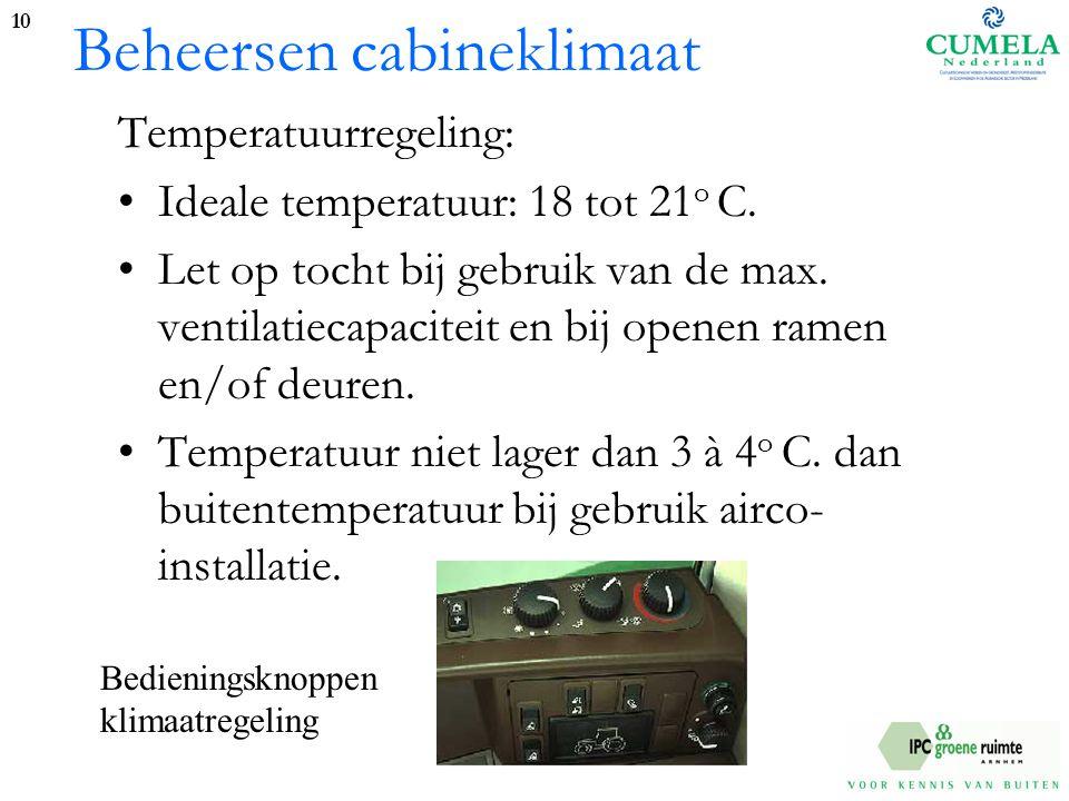 Beheersen cabineklimaat Temperatuurregeling: Ideale temperatuur: 18 tot 21 o C.
