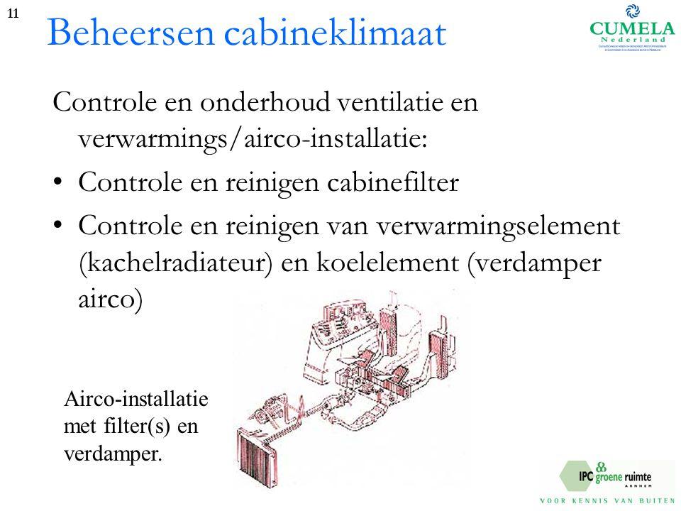 Beheersen cabineklimaat Controle en onderhoud ventilatie en verwarmings/airco-installatie: Controle en reinigen cabinefilter Controle en reinigen van verwarmingselement (kachelradiateur) en koelelement (verdamper airco) 11 Airco-installatie met filter(s) en verdamper.
